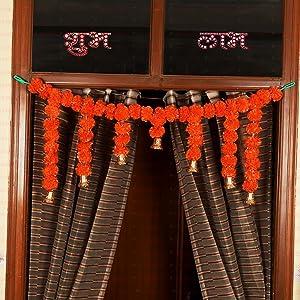 TIED RIBBONS Door Hanging Artificial Marigold Fluffy Flowers Garlands Bandanwar Toran (105 cm X 36 cm) - Home Decoration Item for Home Wall Door Décor