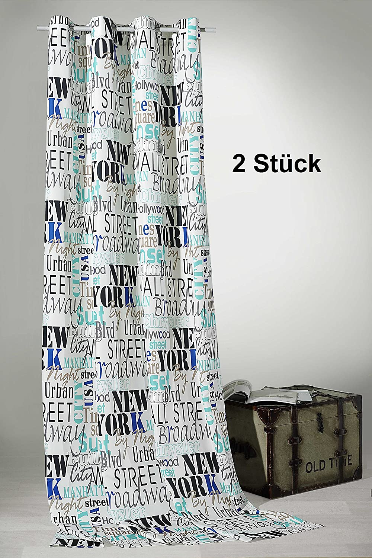 Gardine Rideau à œillets Lot de 2Urban Chic New York City 245x 140cm–Rideau décoratif dans weichfliesender Top Qualité Pour Un très beau cas... BlancDéballez, accrochez, c'est prêt. Rideau typ228, Tissu, boue, HxB 245x140 cm fashion-and-joy