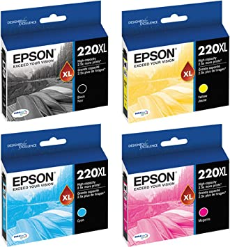 EXPRESSION XP-420 4-PACK Epson GENUINE 220XL Black /& 220 Color Ink RETAIL BOX