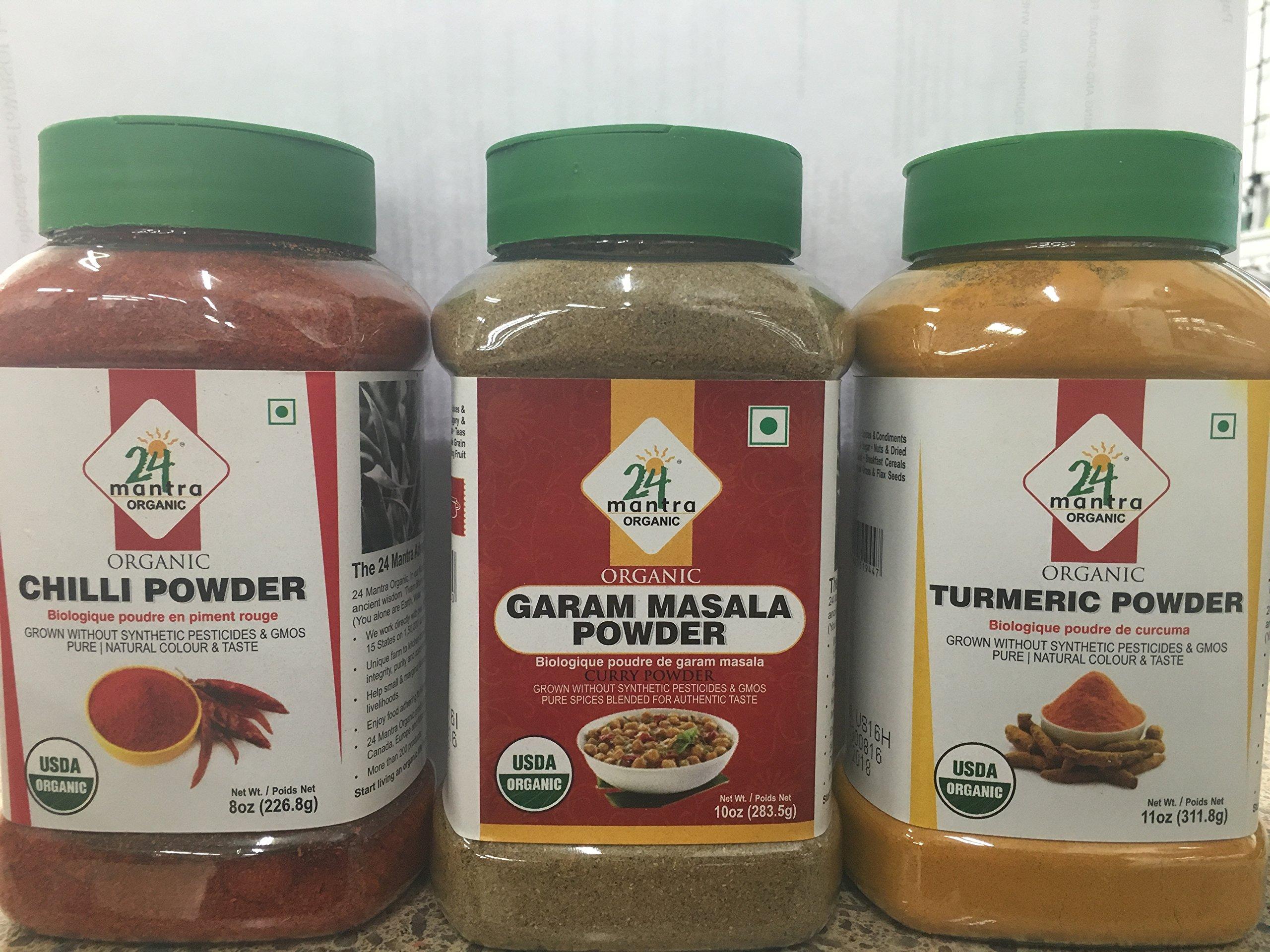 Organic Combo Spice Pack in Jars - Turmeric Powder (11 Oz) , Chilli Powder (8 oz) & Garam Masala Powder (10 oz)