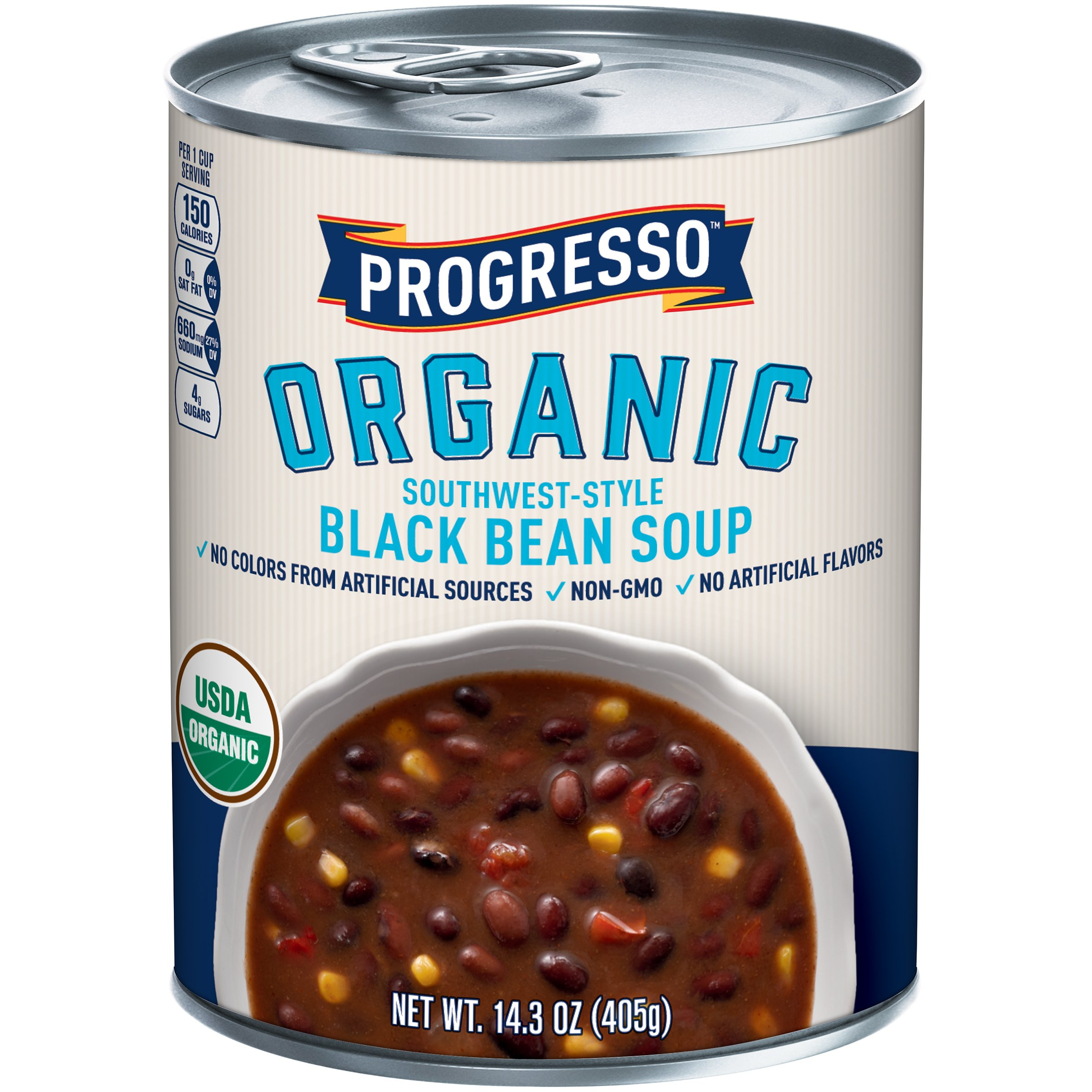 Progresso Organic Southwest-Style Black Bean Soup Can, 14.3 Ounce (Pack of 8)