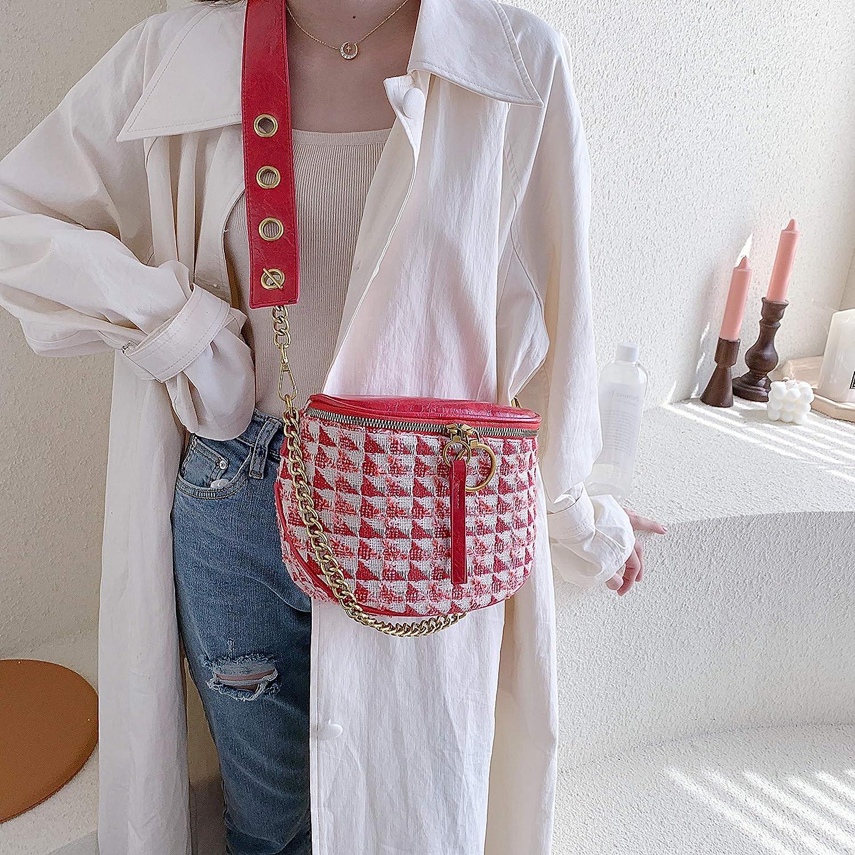 BROTIZER Fashionable Woolen Saddle Bag Vintage Chain Handbag Zipper Wallet Womens Checked Shoulder Bag
