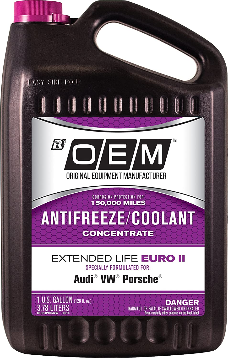 OEM 86-324POEMVW Premium Antifreeze 50/50 Extended Life-Euro II Pink, 128. Fluid_Ounces Recochem