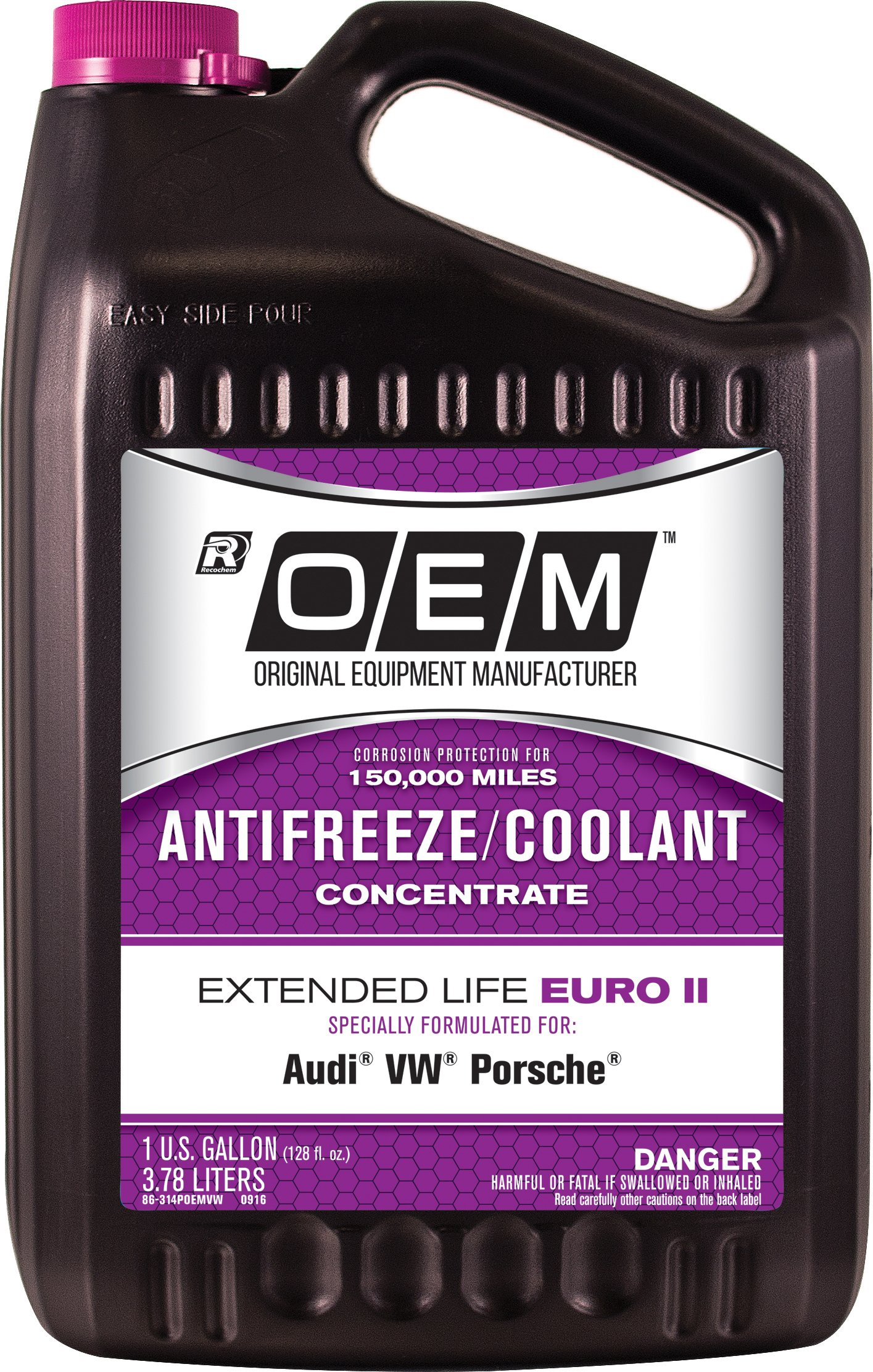 Recochem OEM 86-314POEMVW Pink Premium Antifreeze Concentrate Extended Life - Euro II PINK, 1 gallon, 1 Pack