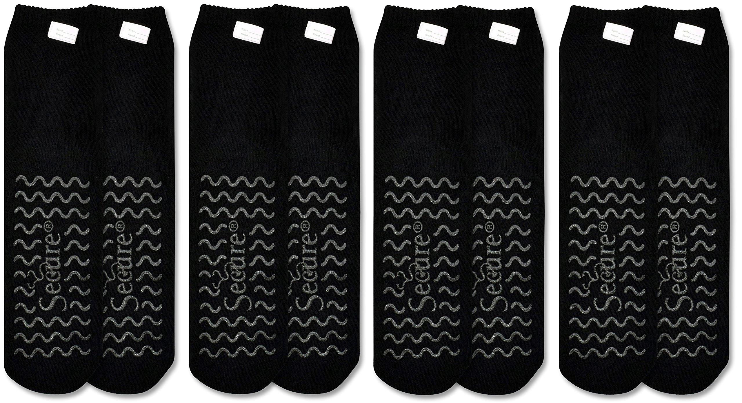 Secure (4 Pairs) Ultra Soft Non Slip Grip Slipper Socks, Black - Fall Injury Prevention Hospital Tread Sock for Safety, Comfort and Warmth