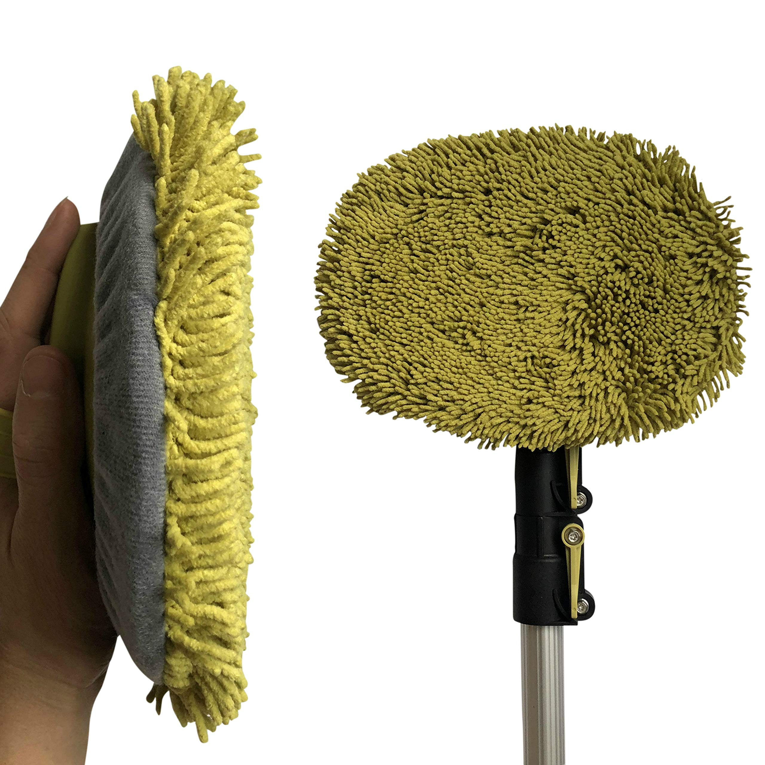 DocaPole 5-12 Foot Wall Duster Extension Pole | Chenille Microfiber Cleaning Head | For Use by Hand or with an Telescopic Pole | High Reach Duster for Walls and High Ceilings | Washable Cleaning Cloth by DOCAZOO