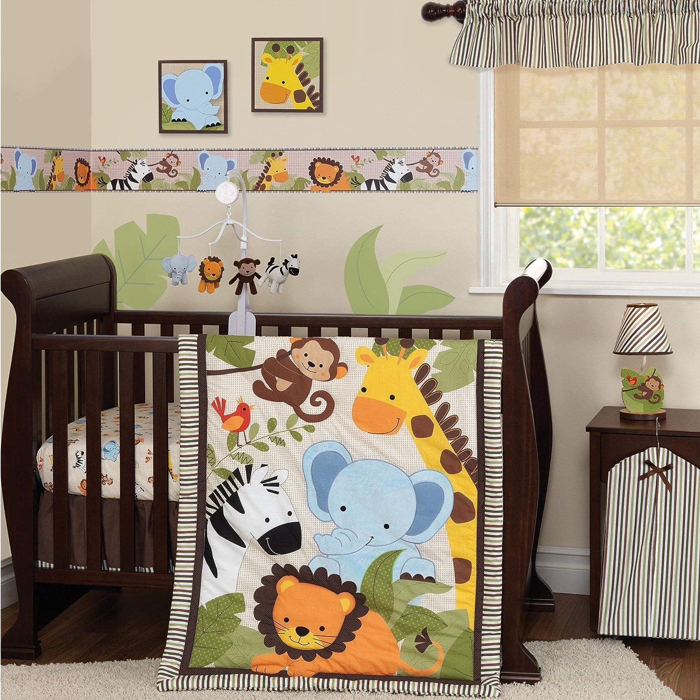 Bedtime Originals Jungle Buddies 3 Piece Crib Bedding Set, Brown Yellow