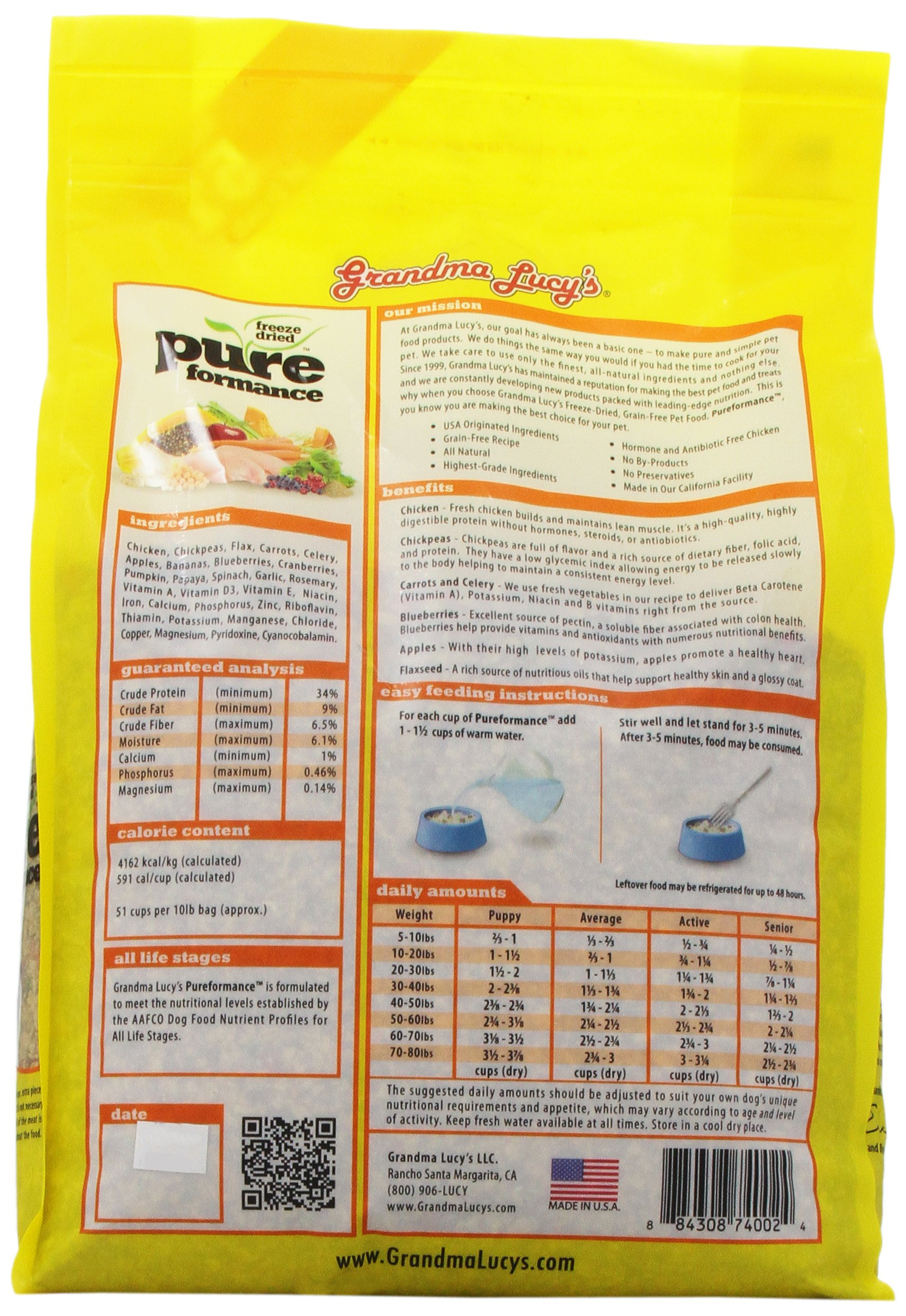 GRANDMA LUCY'S 844212 Pureformance Grain Free Chicken Food for Dogs, 10-Pound by Grandma Lucy's (Image #5)