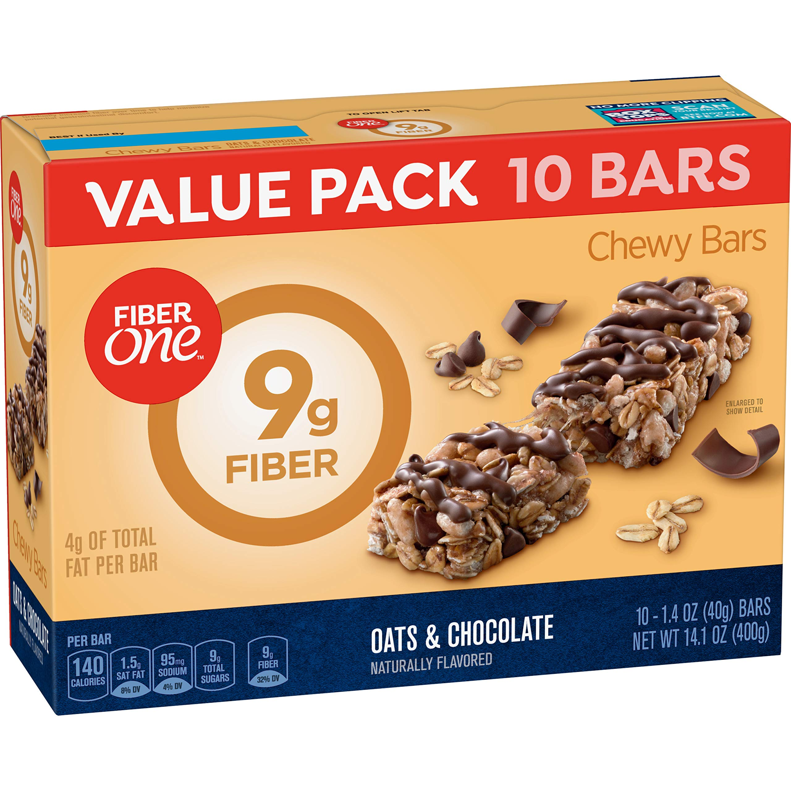 Fiber 1 Oats and Chocolate Bar Value Pack, 1.4 oz, 10 Count