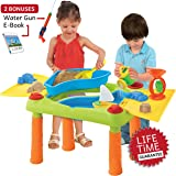 Sand Water Table, Aquatic Arena Sandbox Activity Play Set - Play Sand and Water Creative Sensory Table with Lid & Accessories, Includes 17 Piece Beach Toy Play Set, With Bonus Water Gun & E-Book