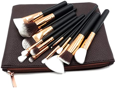 fa32bb354 Maquillali 15 Piezas de Brochas con Bolsa Cosmética para Maquillaje  (Cafe-Golden)