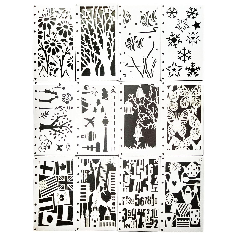 Misscrafts Plantillas de dibujo (12 unidades, para manualidades ...