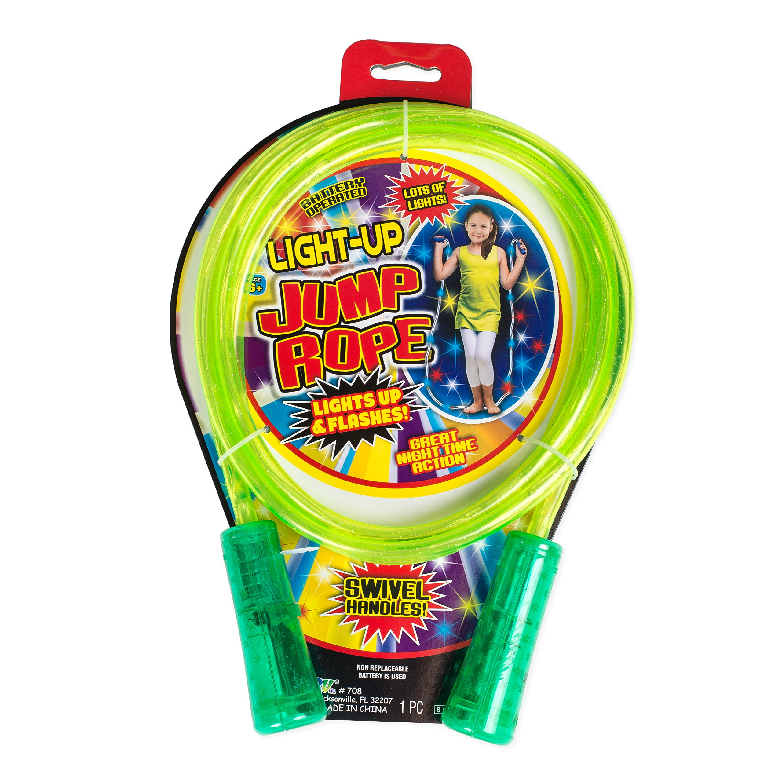 Green Children's Light Up Glitter Jump Rope with Swivel Handles