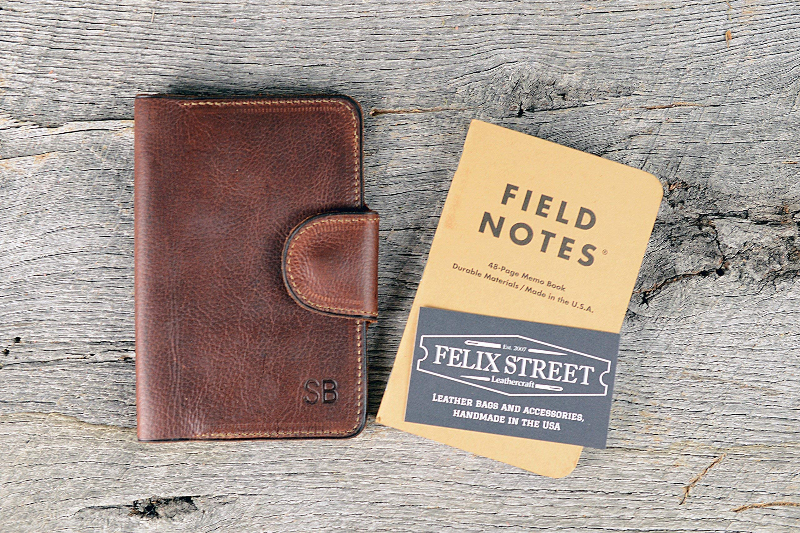 Arizona Leather Field Notes Cover | Monogram Memo Book With Personalized Initials, Pen Holder, Card Slot Field Notes, Moleskin, Journal, Groomsmen Gift For Father's Day | Leather Anniversary Gift