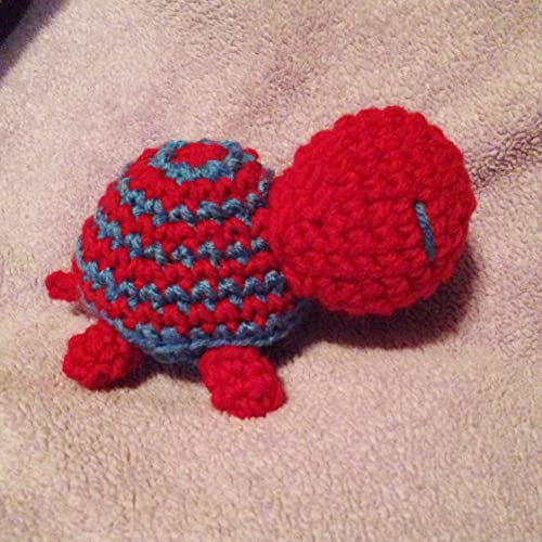 Amazon Crochet Cherry Red Blue Striped Turtle Amigurumi Plush
