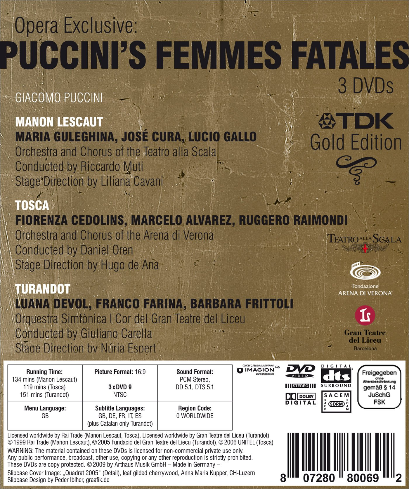 Opera Exclusive: Puccini's Femmes Fatales - Manon Lescaut/Tosca/Turandot