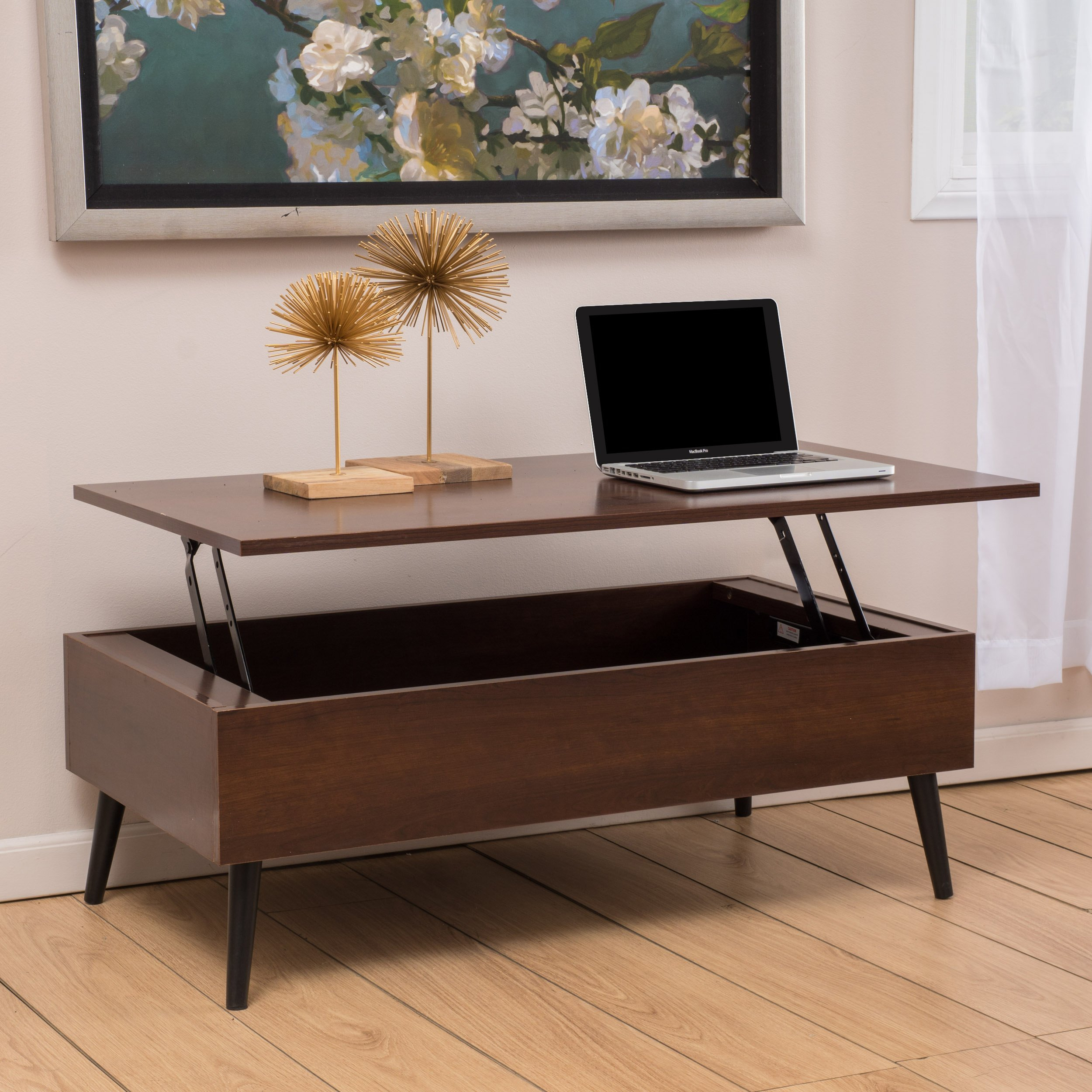 Caleb Mahogany Wood Lift Top Storage Coffee Table