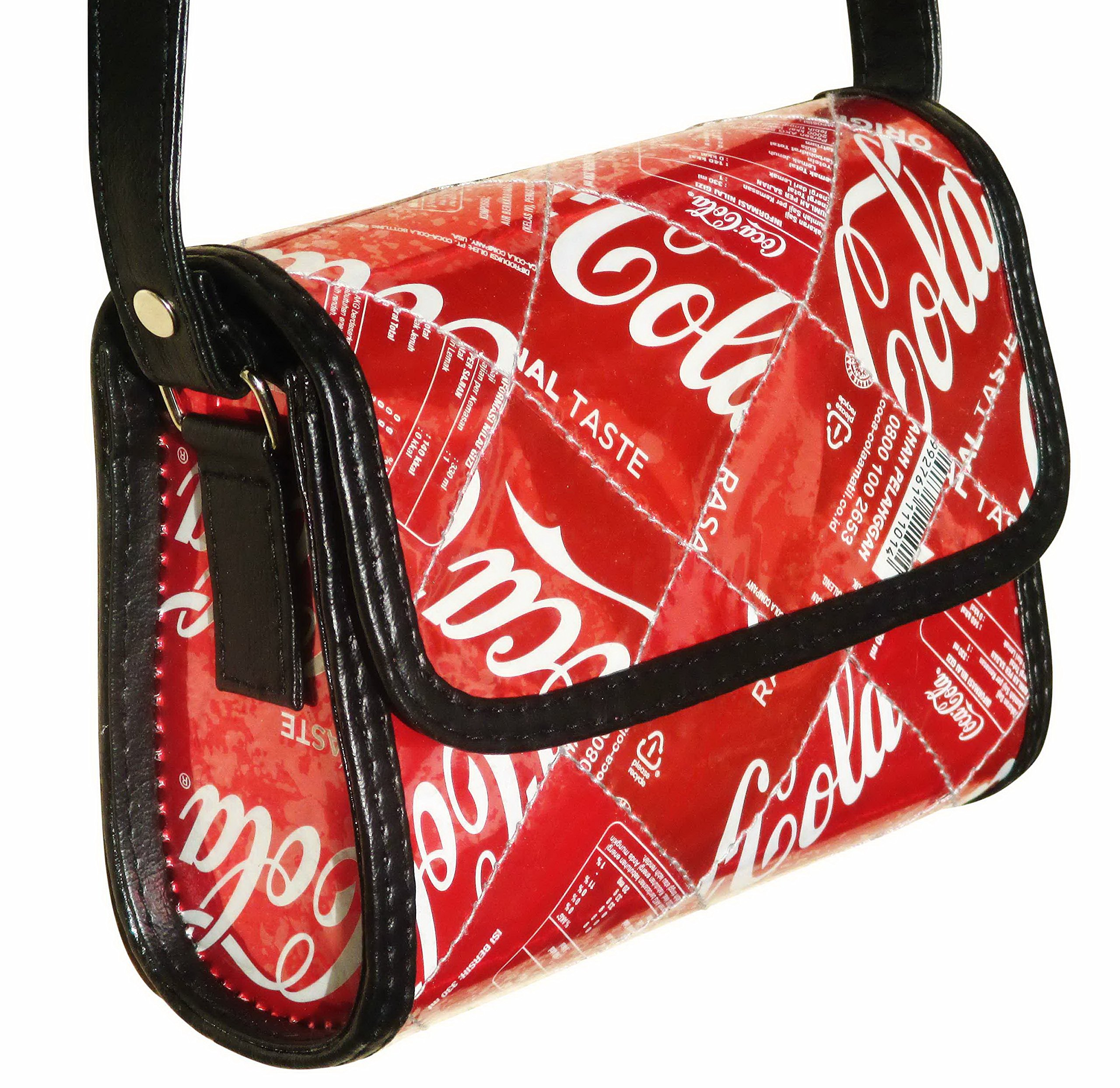 Small cross-body made from Coca Cola can - FREE SHIPPING - upcycled upcycle upcycling recycling different smart person vegetarians products eco friendly people enthusiasts enthusiast beautiful