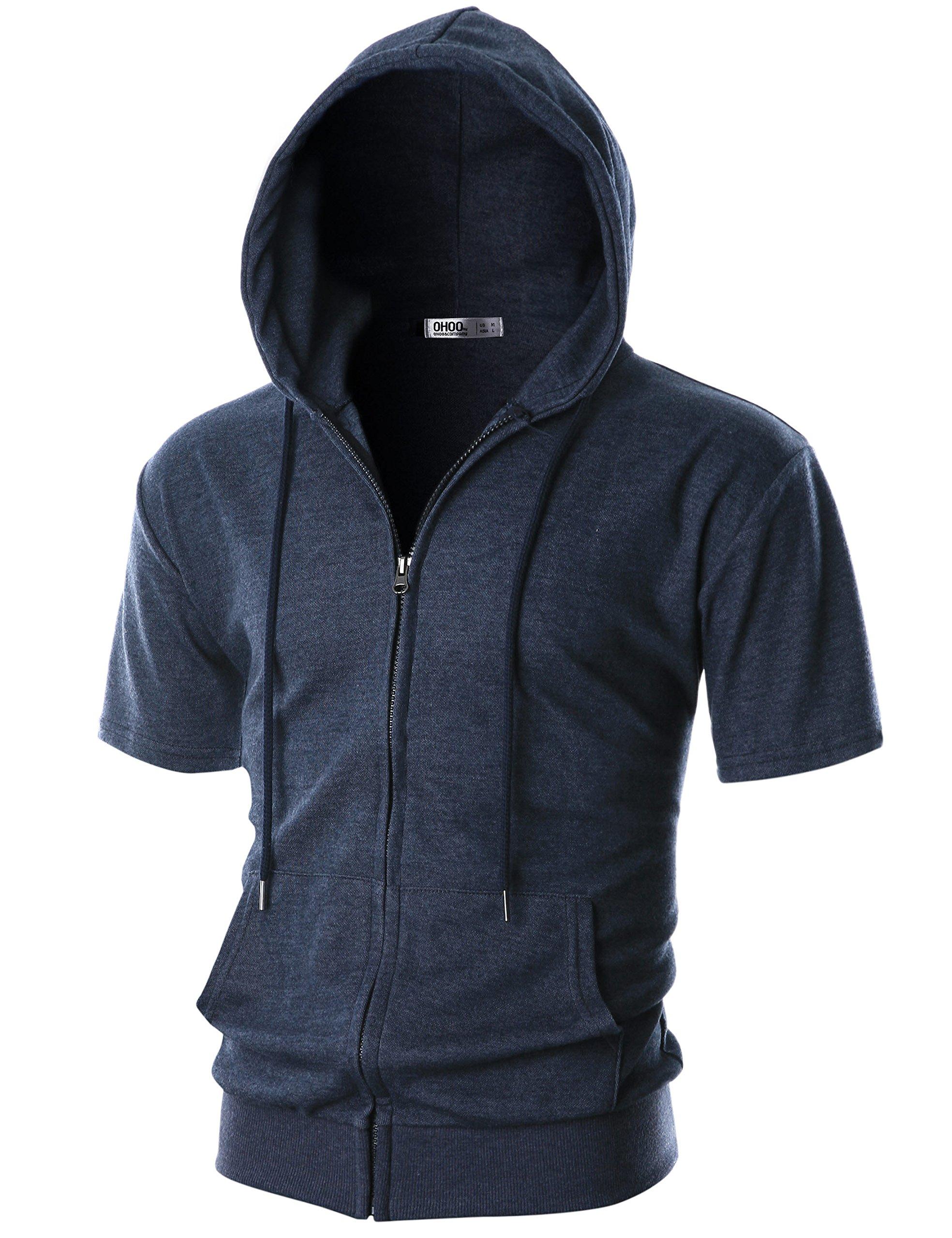 Ohoo Mens Slim Fit Short Sleeve Lightweight One-Tone Zip-up Hoodie with Kanga Pocket/DCF056-NAVYMELANGE-L