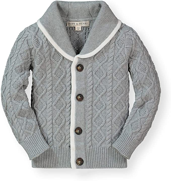 1920s Children Fashions: Girls, Boys, Baby Costumes Hope & Henry Boys Shawl Collar Sweater Cardigan $29.95 AT vintagedancer.com