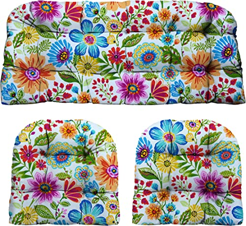 RSH D cor Indoor Outdoor Wicker Cushions Two U-Shape and Loveseat 3 Piece Set Gregoire Blue Red Yellow Pink Fresco