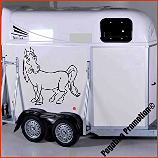 lustiges Pferd Modell 2 Aufkleber Anhänger Pferd Anhänger ca.80x60cm