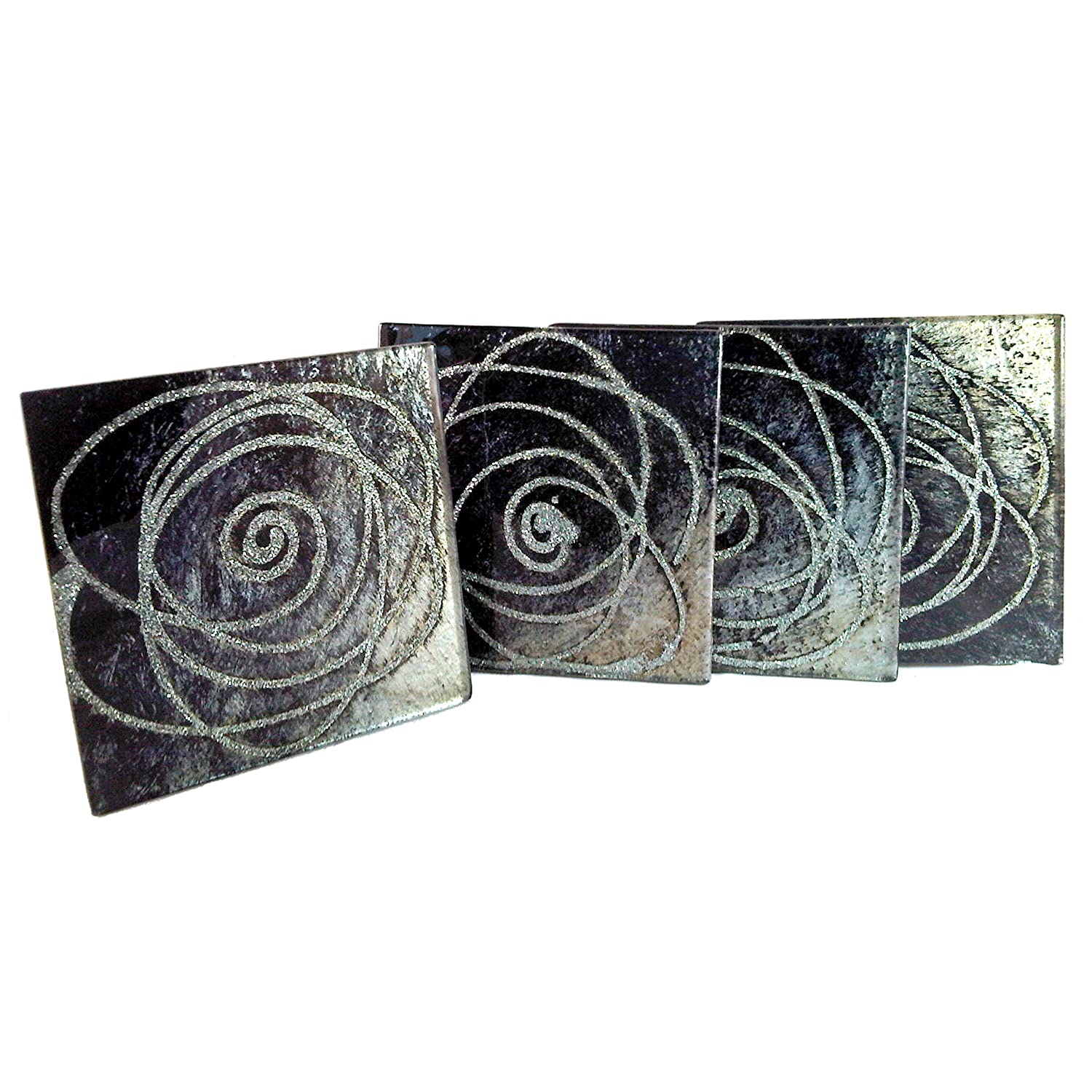 glass coasters set of  sparkle silver and black amazoncouk  - glass coasters set of  sparkle silver and black amazoncouk kitchen home