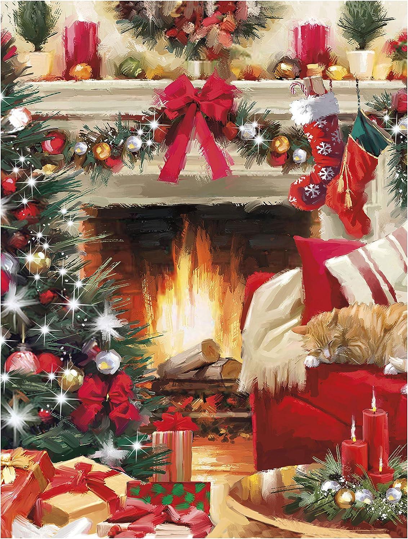 Variet/à di disegni tradizionali festivi tra cui Babbo Natale 24 biglietti 6 disegni renna e un ambiente festivo Biglietto di Natale di beneficenza multipack
