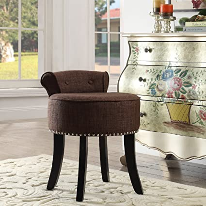 Amazon.com: Taylor Brown Linen Vanity Stool - Nailhead Trim | Roll ...