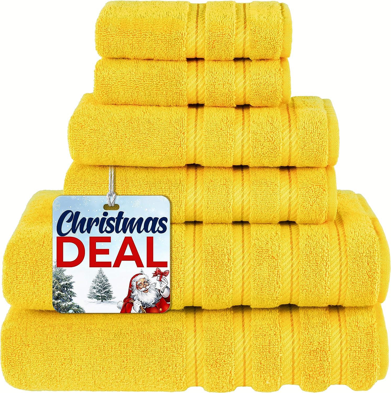 American Soft Linen 6-Piece 100% Turkish Genuine Cotton Premium & Luxury Towel Set for Bathroom & Kitchen, 2 Bath Towels, 2 Hand Towels & 2 Washcloths [Worth $72.95] - Yellow