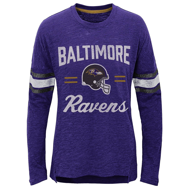 16 Youth X-Large Outerstuff NFL Baltimore Ravens Youth Boys Team Captain Long Sleeve Slub Tee Ravens Purple