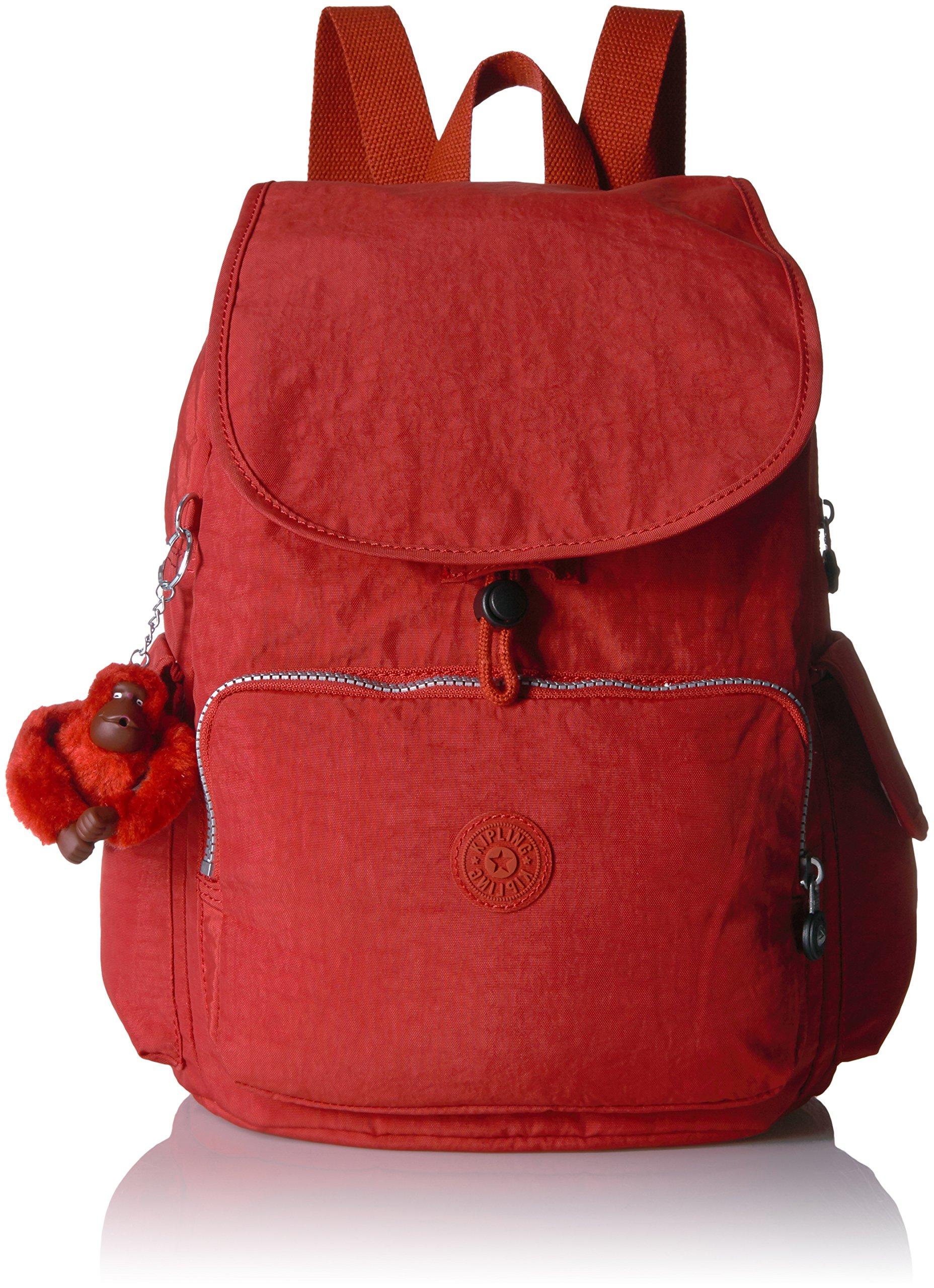 Kipling Women's Ravier Medium Solid Backpack, Red Rust