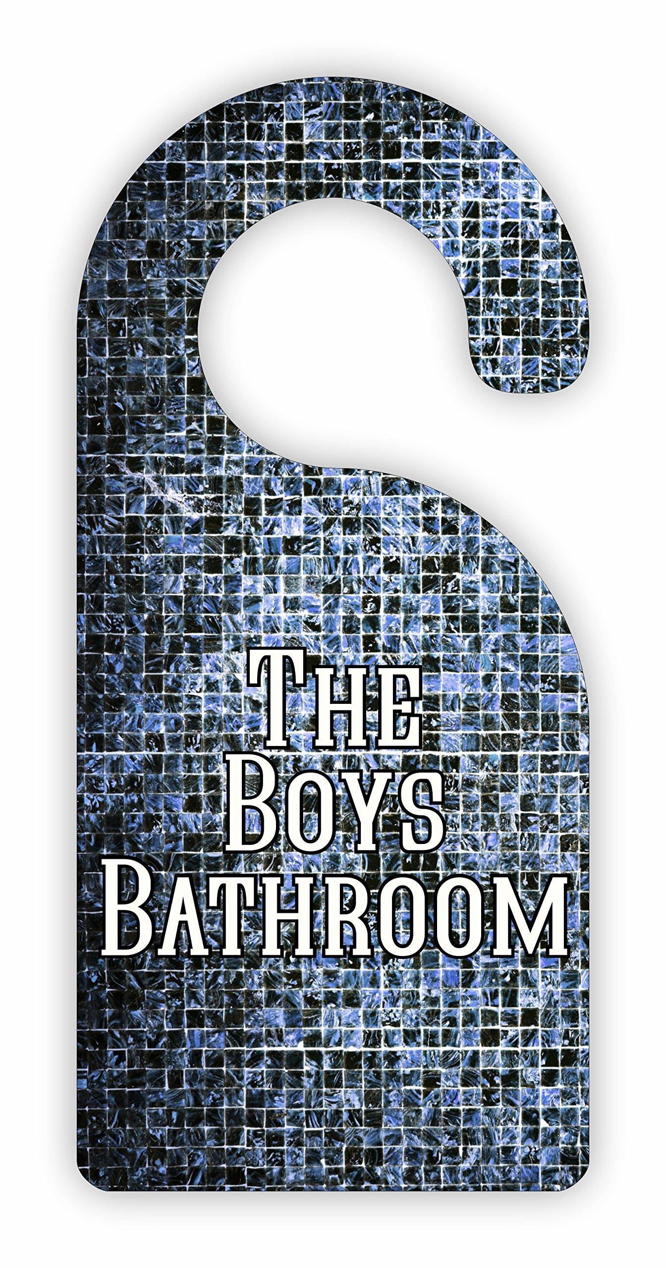 The Boys Bathroom Room Door Sign Hanger - Hardboard - Glossy Finish