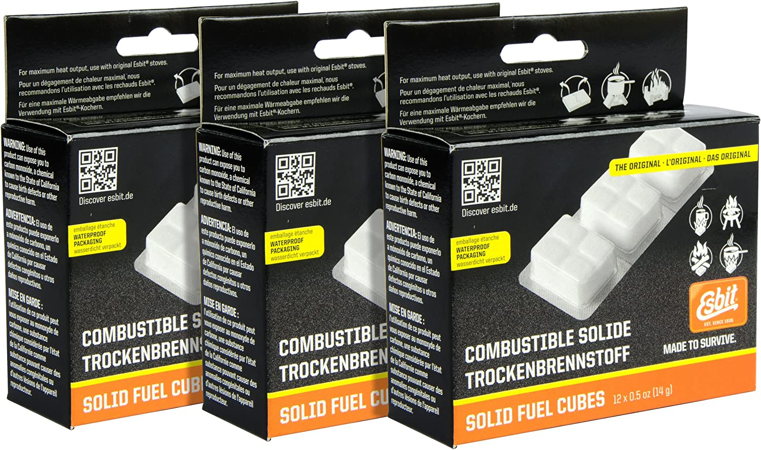 Esbit Solid Fuel Replacement Cubes Emergency Fire Starter Camping (3-Pack of 12)