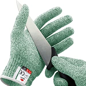 NoCry Cut Resistant Gloves - High Performance Level 5 Protection, Food Grade. Green, Size Large