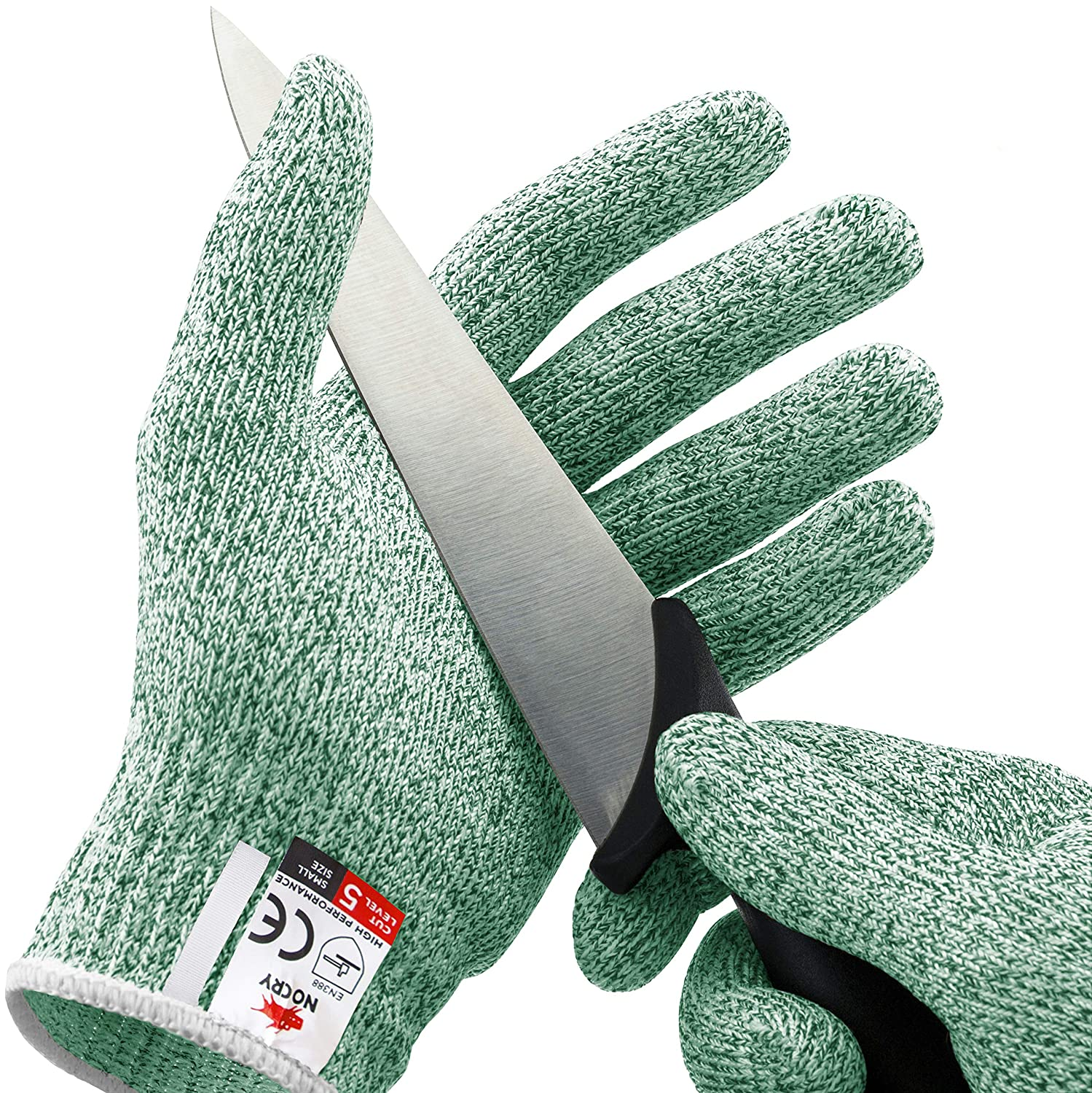 NoCry Cut Resistant Gloves - High Performance Level 5 Protection, Food Grade. Green, Size Small