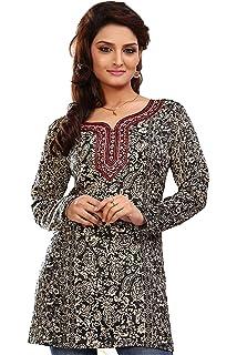 4a5e8d2b2737a Amazon.com: Indian Tunic Top Womens Kurti Printed Blouse India ...