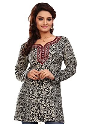 694c4aff97 Maple Clothing Indian Long Kurti Top Tunic Printed Womens India Clothes ( Black, L)