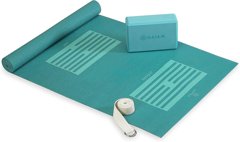 Gaiam Beginner S Yoga Starter Kit Yoga Mat Yoga Block Yoga Strap