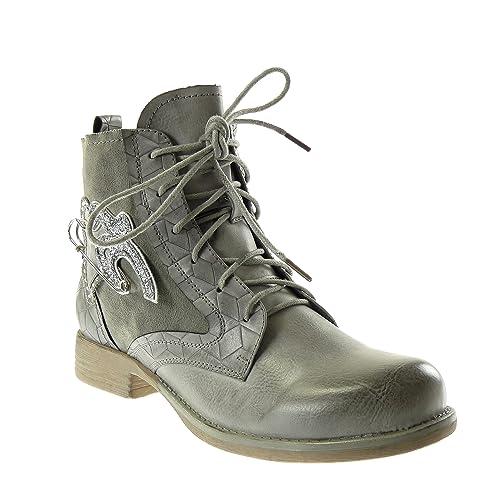 Angkorly Zapatillas Moda Botines Botas Militares Cavalier Bimaterial Mujer cocodrilo Strass Brillantes Tacón Ancho 3 cm: Amazon.es: Zapatos y complementos