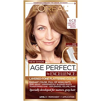 L Oreal Paris Excellenceage Perfect Layered Tone Flattering Color 6cb Light Soft Reddish Brown