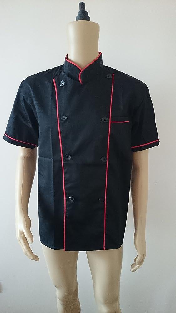 Chaqueta Manga Corta de chef/cocinero Uniforme Cocinero (Hombre y Mujer) 100% algodón (XXL 126cm (50