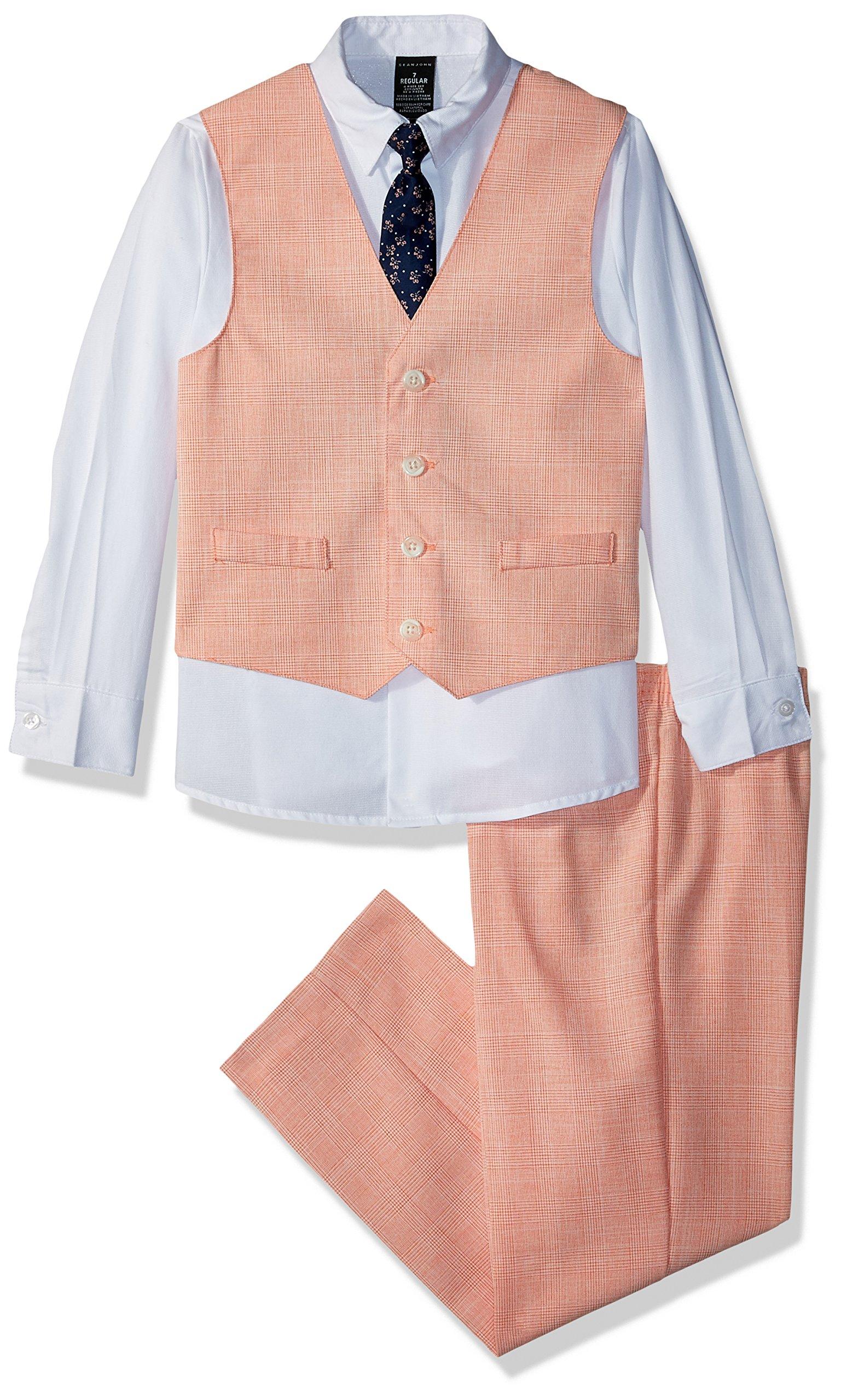 Sean John Boys' Big' 4-Piece Dresswear Vest Set, Passionate Pea Plaid, 18
