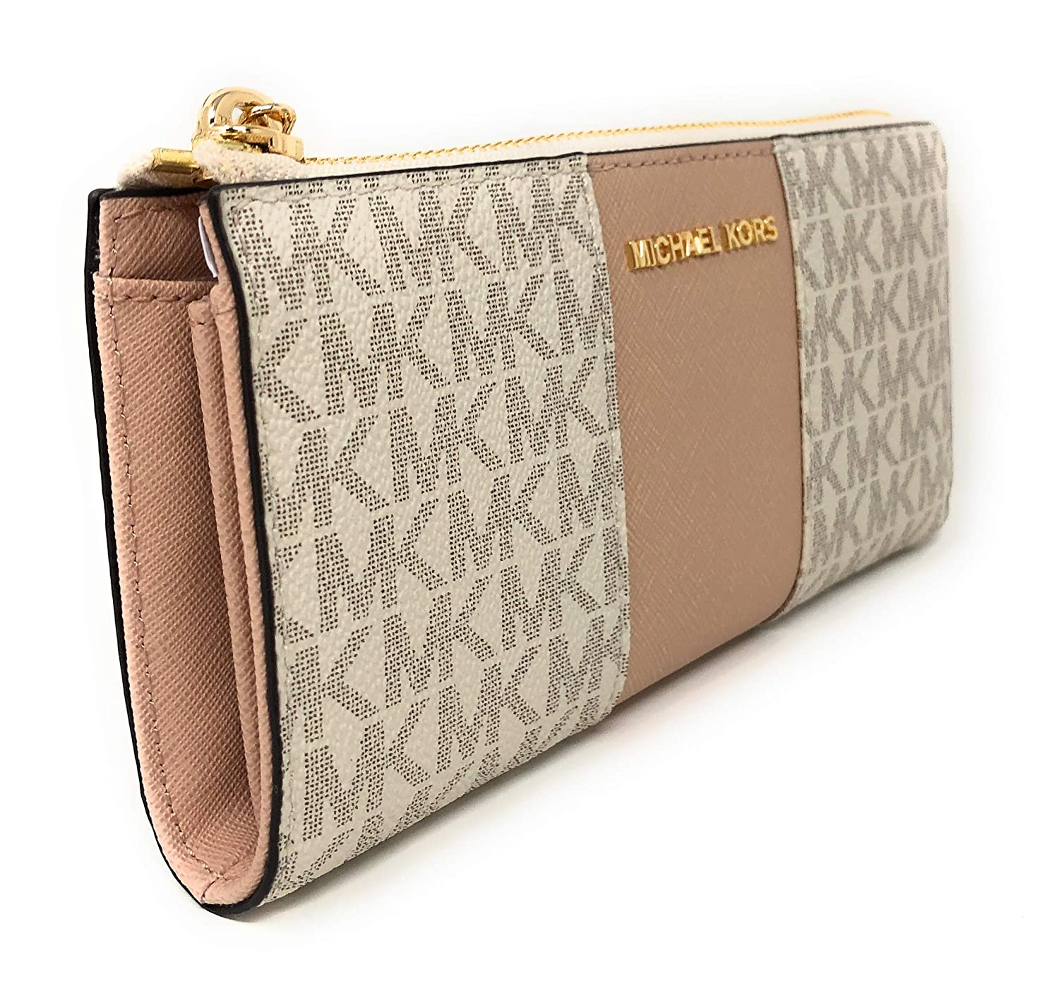 6b4fde6bceca2b Amazon.com: Michael Kors PVC Signature Center Stripe JST LG Three Quarter Zip  Wallet in Fawn/Ballet: Gaby's Bags