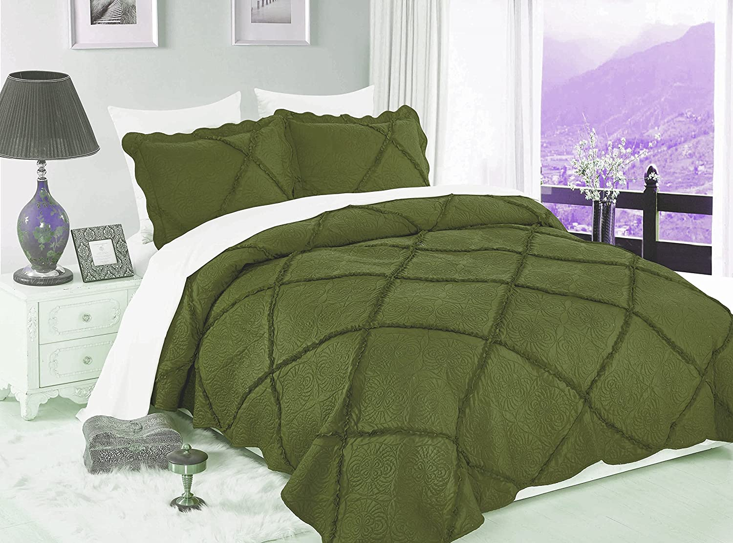 GorgeousHomeLinen (MAD#) 3PC New Style Quilt Soft Hypoallergenic Comfortable Comfort Bedspread Bed Bedding Coverlets Cover Set