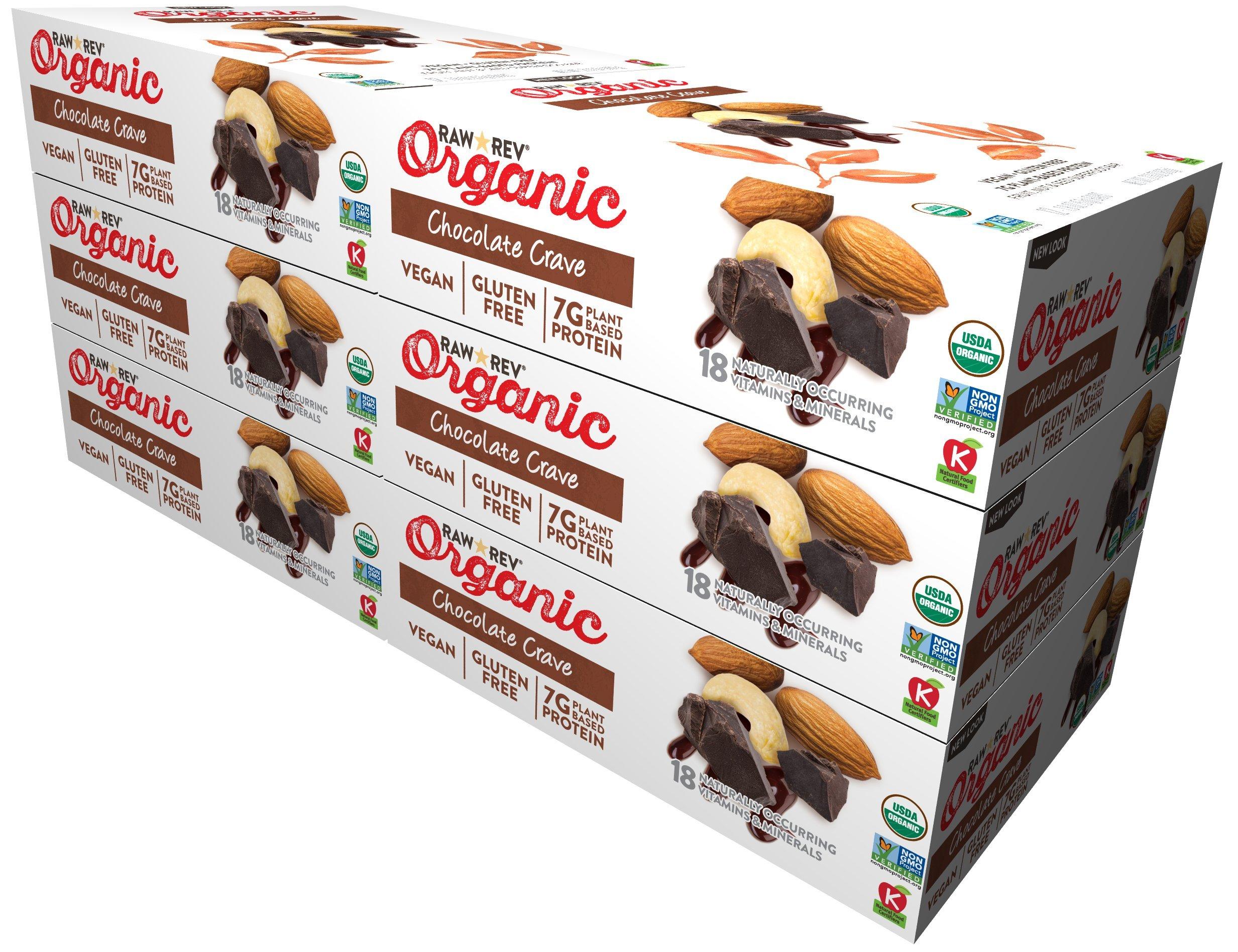 Raw Rev Organic Vegan, Gluten-Free Fruit, Nut, Seed Bars - Chocolate Crave 1.8 ounce (Pack of 72)