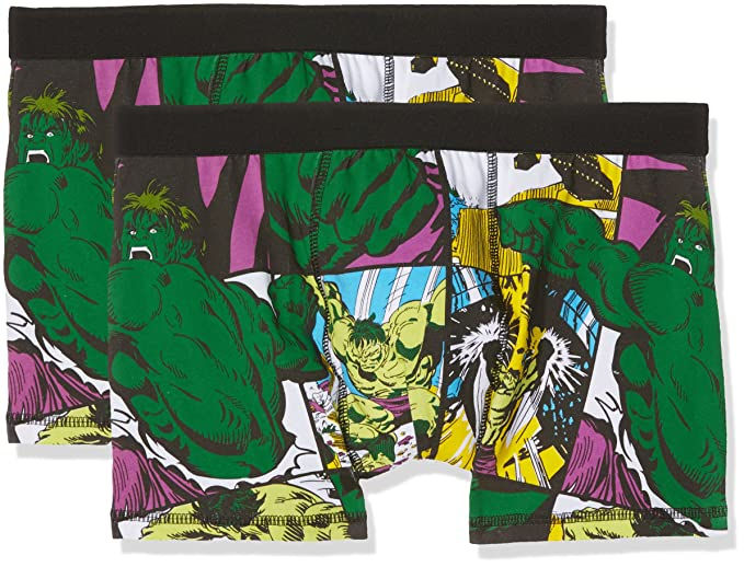 Marvel Hulk, Slip para Hombre, (Multicoloured Optic White), Small