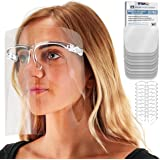 TCP Global Salon World Safety Face Shields with Glasses Frames (Pack of 25) - Ultra Clear Protective Full Face Shields to Pro