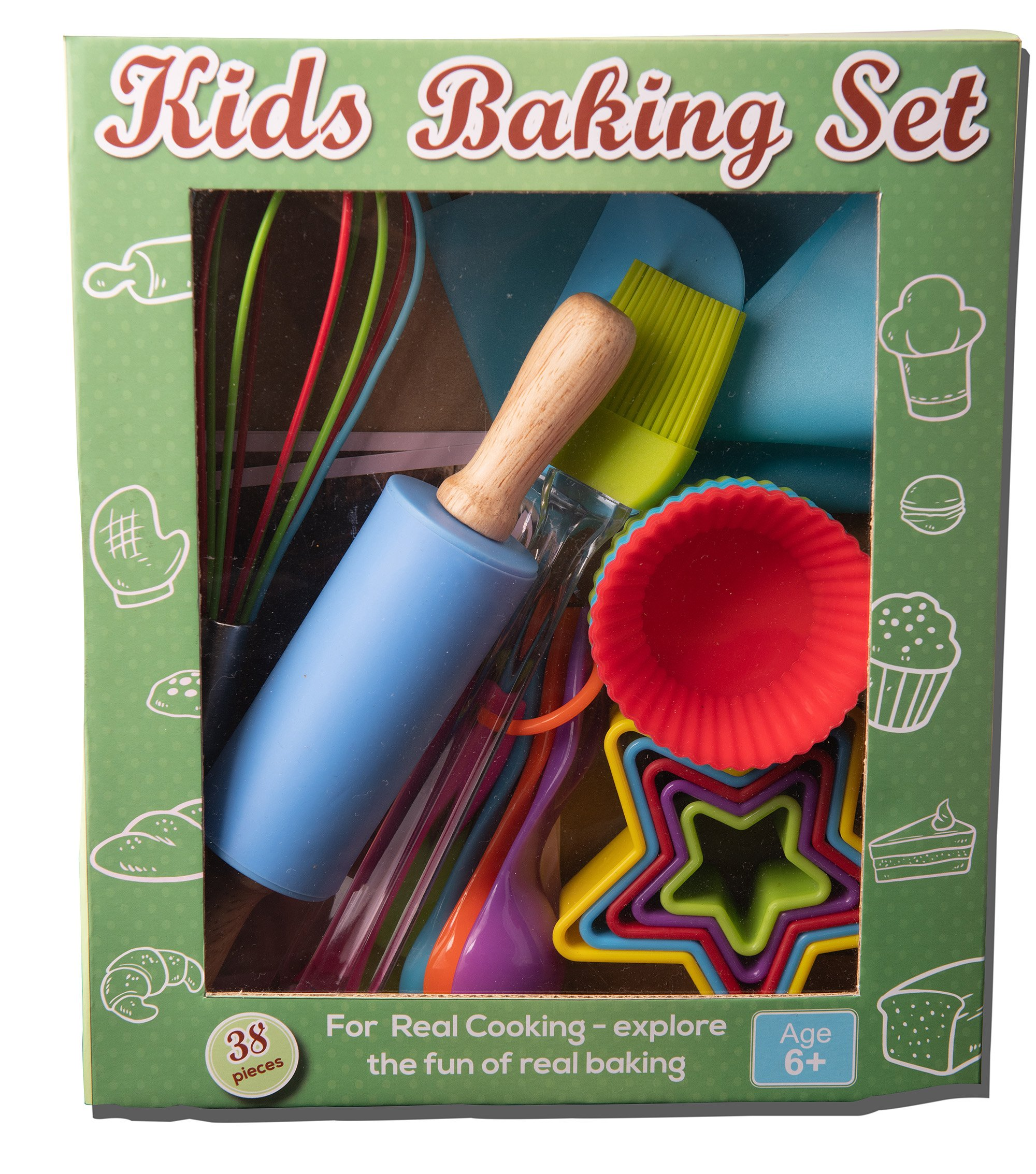 Riki's kingdom kids baking set 3 COMPLETE 38-PIECE BAKING SET! includes everything needed to bake with your children- Comes with 12 silicon baking cups, 1 spatula, 1 pastry brush, 5 measuring spoon, 1 rolling pin, 1 whisk, 5 star shape cookie cutters, piping bag , 6 piping nozzles , coupler and 5 recipe cards FAMILY-FRIENDLY FUN! Complete set ,It's not complicated- every convenience you can ask for and more! Microwave safe, flexible, comfortable for little hands, rust-free, no need to grease pan, withstands heat of melted sugar; sauces and creams don't stick, and the items are reusable to makes your kitchen a little greener STORE SMALL - BAKE BIG - plastic cookie cutters can be nested to save space, the piping bag and apron can be folded up neatly, while silicone items are flexible enough that you can fold it up for easy storage in small areas and they jump right back into shape when unfolded