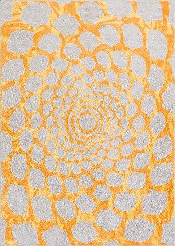 Alberta Floral Yellow Grey Modern Geometric Circles Swirls Spiral 8×10 7'10″ x 9'10″ Area Rug